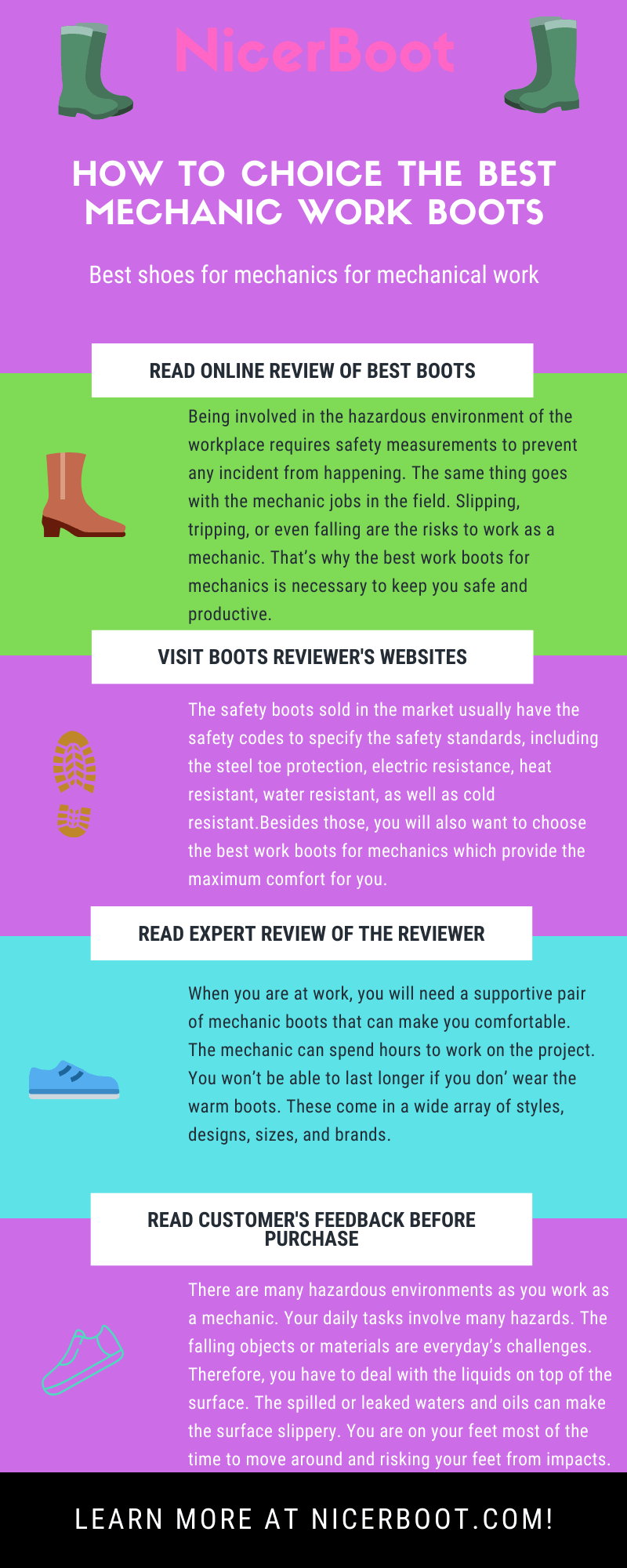 Infographic - How to choice the best mechanic work boots?